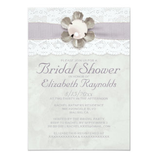 "Elegant Lace and Pearls Bridal Shower Invitations 5"" X 7"" Invitation Card"