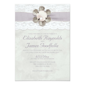 "Elegant Lace and Pearls Wedding Invitations 5"" X 7"" Invitation Card"