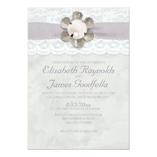 Elegant lace and pearls wedding invitations zazzle for Pearl wedding invitations