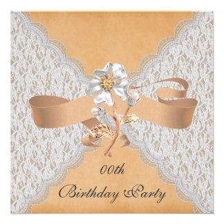 Elegant Lace Birthday Party Invitations