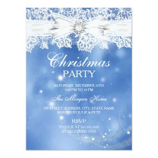 Elegant Lace & Bow Blue Christmas Holiday Invite