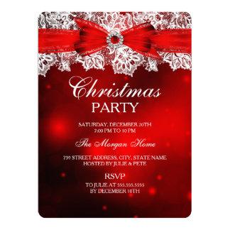 Elegant Lace & Bow Christmas Holiday Invitation