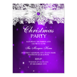 Elegant Lace Bow Purple Christmas Holiday Party Card