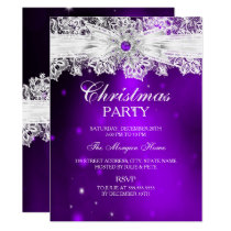Elegant Lace Bow Purple Christmas Holiday Party Invitation