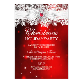 Elegant Lace Bow Red Christmas Holiday Party Card at Zazzle