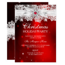 Elegant Lace Bow Red Christmas Holiday Party Invitation