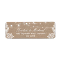 Elegant Lace Burlap Rustic Country String Lights Label