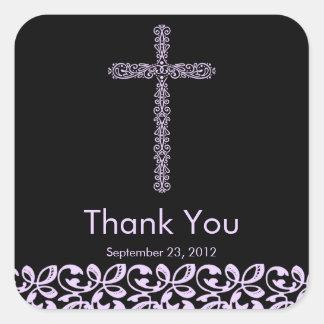 Elegant Lace Cross Holy Baptism Thank You Square Sticker