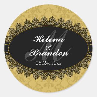Elegant Lace & Damask Monogram Wedding Seals Sticker