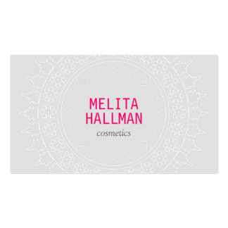 Elegant Lace-Inspired Decorative Circle Gray/Pink Double-Sided Standard Business Cards (Pack Of 100)