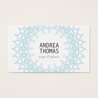Elegant Lace-Inspired Decorative Circle White/Blue Business Card