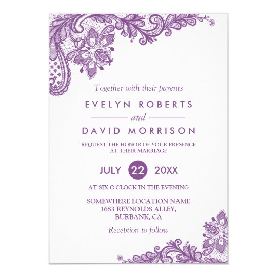 elegant lace lavender purple white formal wedding invitation
