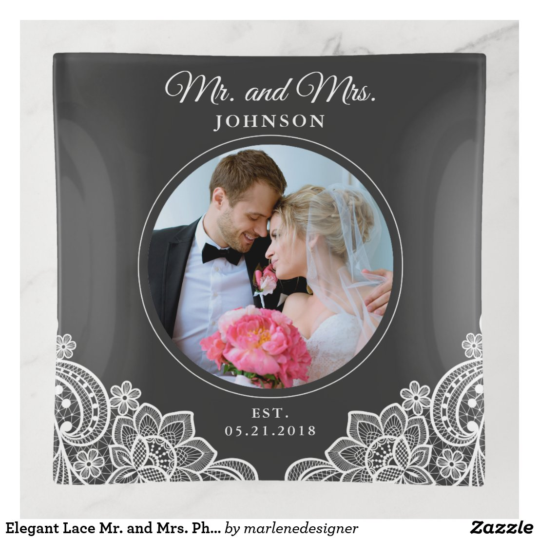 Elegant Lace Mr. and Mrs. Photo Trinket Tray