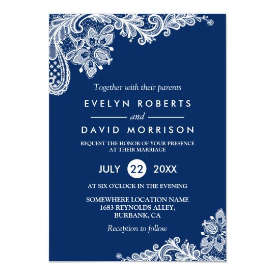 Shop Elegant Lace Navy Blue White Formal Wedding Card created by CardHunter. Personalize it with photos & text or purchase as is!