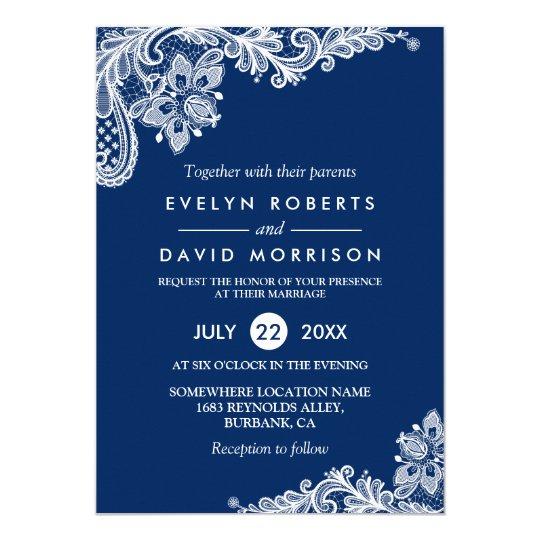 Elegant wedding invitations announcements zazzle elegant lace navy blue white formal wedding card stopboris Choice Image