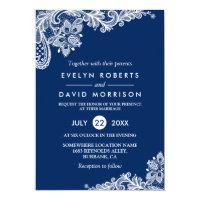 Elegant Lace Navy Blue White Formal Wedding Invitation