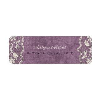 Elegant Lace on Violet Background Address Label