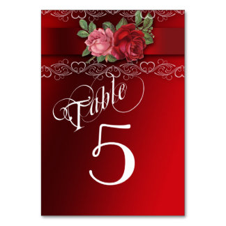 Elegant Lace, Red and Pink Roses, Table Cards