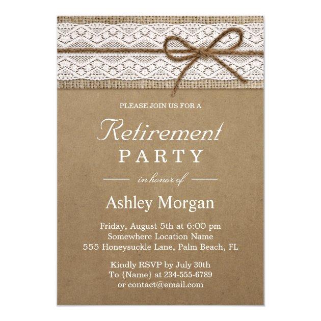 Elegant Lace Rustic Burlap String Retirement Party Card