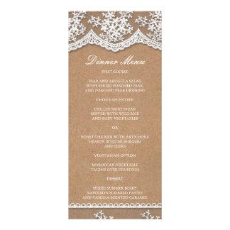 Elegant Lace & Rustic Craft Paper Slim Dinner Menu