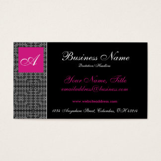 Elegant Lace with Pink Monogram Business Cards