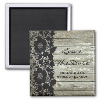 Elegant lace wood country wedding save the date 2 inch square magnet