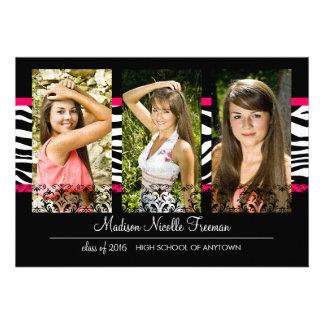 Elegant Lace & Zebra Pink Photo Graduation Cards