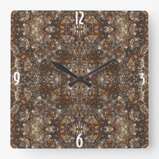 elegant laced damask, baroque. square wall clock