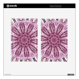 Elegant Lacy Pink Kaleidoscope Decals For Kindle Fire