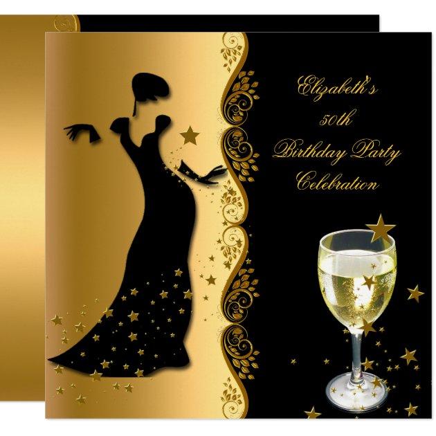 elegant lady 50th birthday party gold black wine