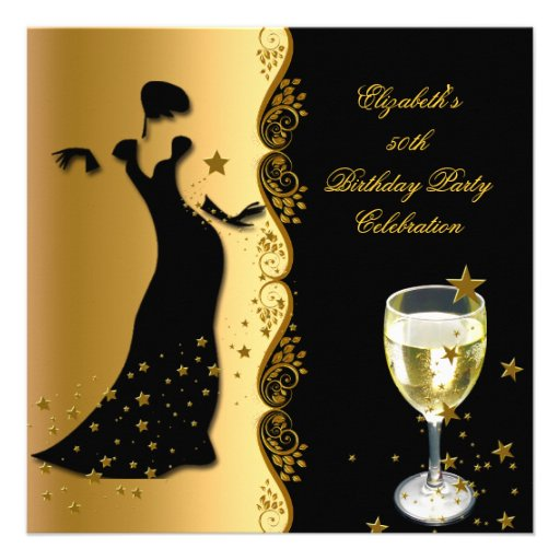 Elegant Lady 50th Birthday Party Gold Black Wine 5.25