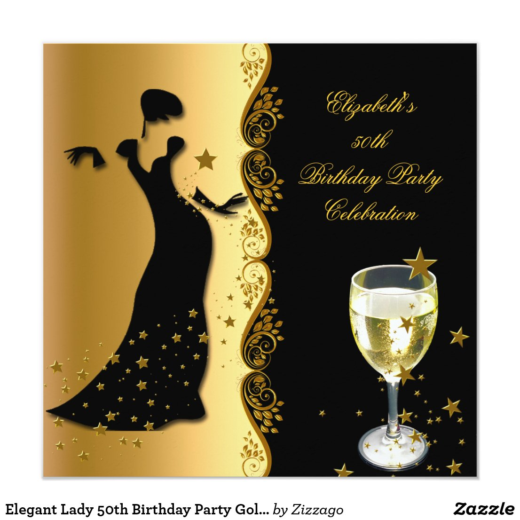 Elegant Gold Black 50th