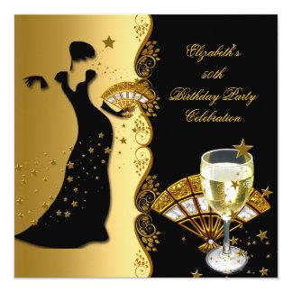 Elegant Lady 50th Birthday Party Gold Black Wine 5.25x5.25 Square Paper Invitation Card