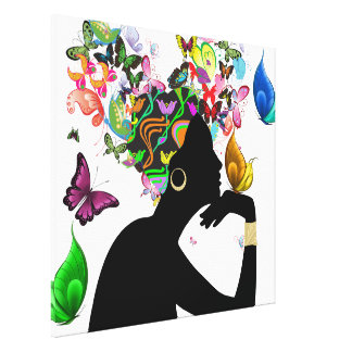 Elegant Lady and Butterflies Canvas Print