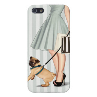 Elegant lady and pug cover for iPhone 5/5S