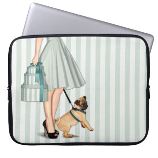 Elegant lady and pug laptop computer sleeves