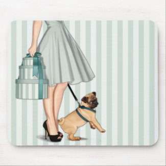 Elegant lady and pug mouse pad