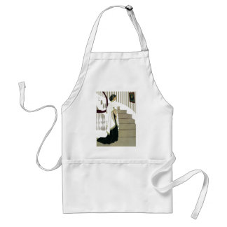 Elegant Lady Ascends the Staircase Adult Apron