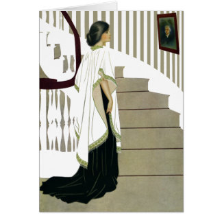 Elegant Lady Ascends the Staircase Cards