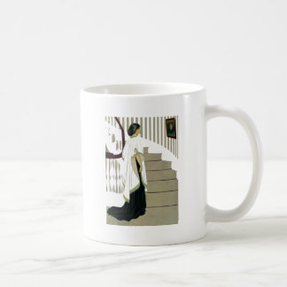 Elegant Lady Ascends the Staircase Coffee Mug