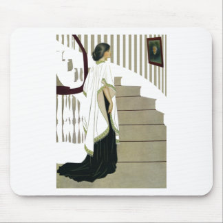 Elegant Lady Ascends the Staircase Mouse Pad