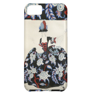 ELEGANT LADY FLORAL DRESS WITH BLACK WHITE FLOWERS COVER FOR iPhone 5C