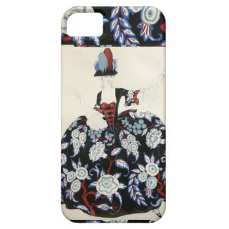 ELEGANT LADY FLORAL DRESS WITH BLACK WHITE FLOWERS iPhone 5 CASES