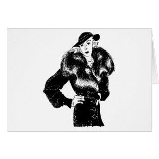 elegant lady in black 1930s fashion card