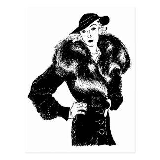 elegant lady in black 1930s fashion postcard