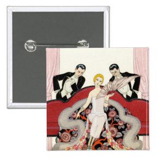 Elegant Lady in Paris Art Deco Button