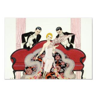 """Elegant Lady in Paris Art Deco Invitations 3.5"""" X 5"""" Invitation Card"""