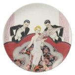 Elegant Lady in Paris Art Deco Plate
