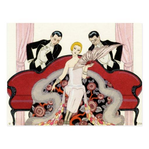 Elegant Lady in Paris Art Deco Postcard