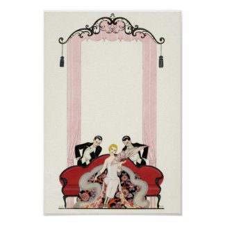 Elegant Lady in Paris Art Deco Poster